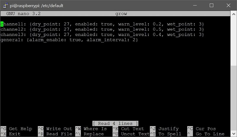 Screenshot of settings file in Nano text editor