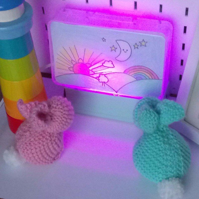bunnies looking at indigo