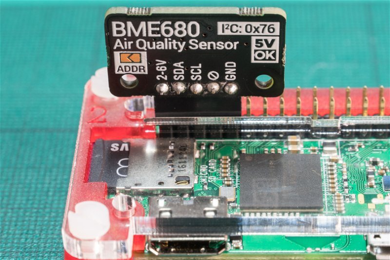 Close-up of mounted BME680 and solder pads