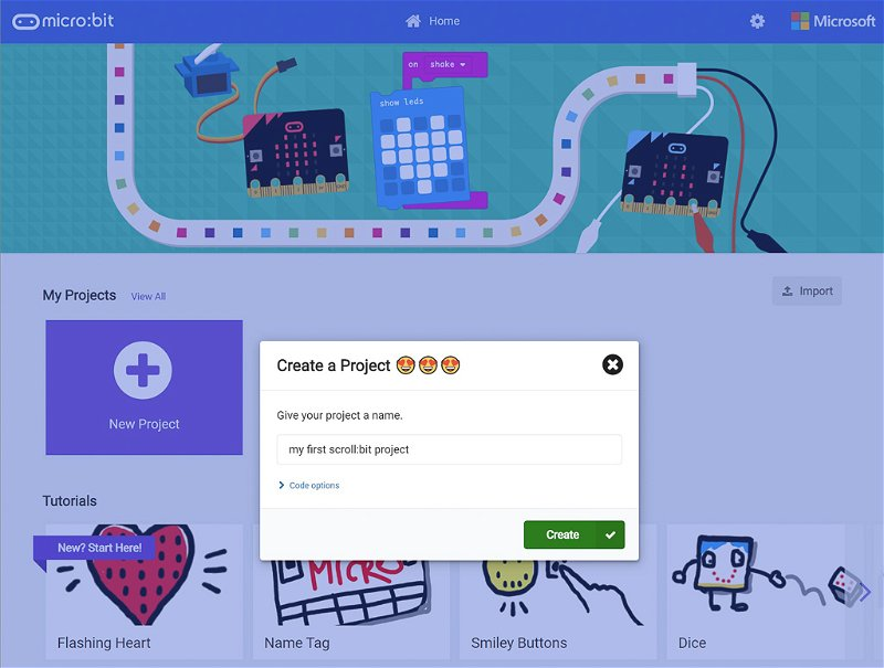 Screenshot showing how to create a project in MakeCode