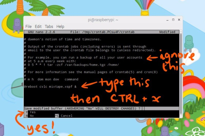 crontab with instructions