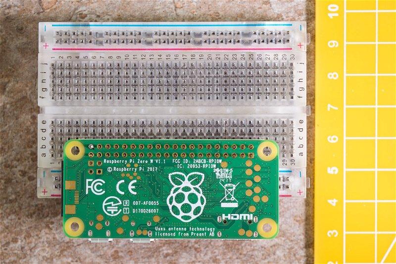 Raspberry Pi Zero W with header held steady in breaboard